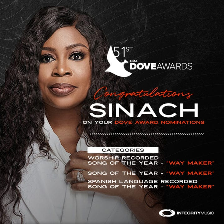 Sinach bags 3 nominations at the 51st GMA Dove Awards Nomination