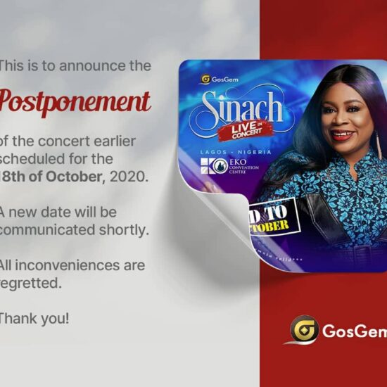 Sinach live in concert postponement